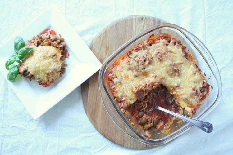 Vega Pasta alla Eva uit de oven!