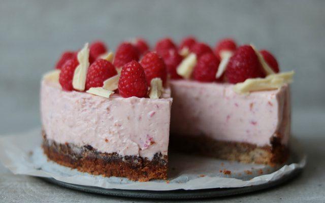 Witte chocolade frambozen cheesecake!